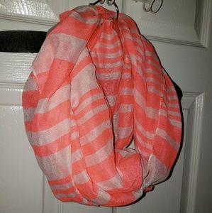 Orange and white infinity fashion scarf